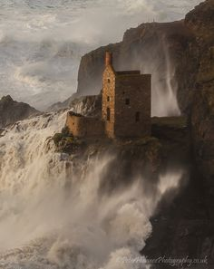 Crown Engine House, Botallack by Peter Hulance huge crashing waves, Cornwall, England