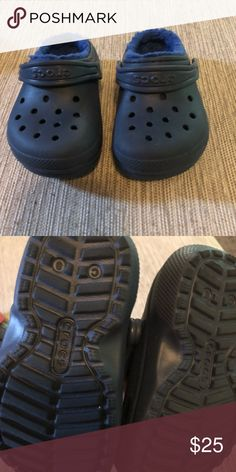 6ba9044d53795c Navy Blue Crocs Navy Blue crocs with fur inside. Worn maybe once CROCS Shoes  Water Shoes. latobia brown