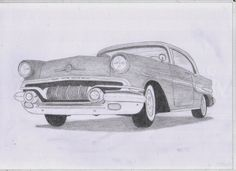 Classic Car Drawings: 1957 Pontiac Chieftan Original Pencil Drawing  http://classiccardrawings.blogspot.co.uk/2014/07/1957-pontiac-chieftan-original-pencil.html