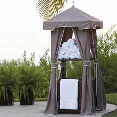 Your guests will love the convenience of grabbing clean, dry towels and disposing of wet towels while enjoying your pool this summer!
