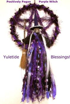 This original Positively Pagan handmade witch and Pentacle is a must for purple lovers this Yule! - but remember- a witch is not just for Yule.. shes for life- so can be enjoyed all year round! The 7 diameter pentacle is made from wood and bound with deep purple satin ribbon and