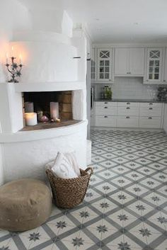 Vicky's Home: Suelos hidráulicos con un toque vintage / Historic tiles with a vintage touch Bed In Living Room, Living Room Furniture, Home Furniture, White Rooms, Beautiful Kitchens, Kitchen Living, Room Colors, Country Life, My House