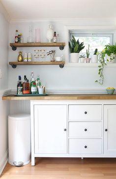 Knoxhult Ikea, Bar Ikea, Diy Home Bar, Diy Bar, Ikea Hacks, Hacks Diy, Home Decor Kitchen, Diy Kitchen, Kitchen Ideas