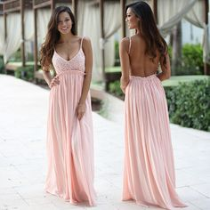 Super elegant and cute Pink Lace Maxi Dress With Open Back! Perfect for any special occasion! We love its beautiful lace flowy skirt and open back! Check out other maxi dresses at savedbythedress.com