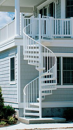 Exterior solid aluminum spiral stair kit -awesome addition to a high deck.