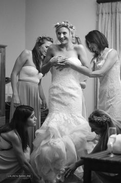 A bride and her bridesmaids get ready at Kleinkaap, Centurion. Black and white photo. Magazine style wedding photography in South Africa and Washington D.C.  by Lauren Barkume. Book your wedding at www.laurenbarkume.com