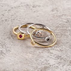 AMORE stackable thin gold Rings with gemstones, great as engagement rings too
