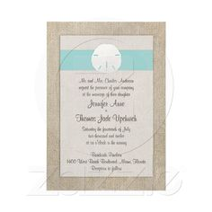 Sand Dollar Beach Wedding Invitation - Turquoise from Zazzle.com