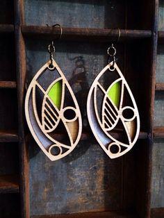Leaf - Laser cut wooden earrings - lime green/silver/gold on Etsy, $35.00