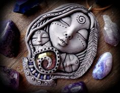 mother daughter necklace mystic moon clay Goddess by anainc