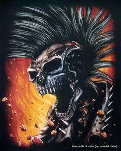 d931c6c39a59 Punk Skull Biker Chopper T-shirt