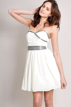 TFNC Bandeau Dress with flattering embellishment. Pleated full skirt and sweetheart top. Statement zip at back.