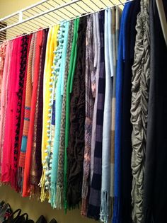 Scarf Storage - why didn't I think of that! This is the exact kind of shelving I have in my new closet!