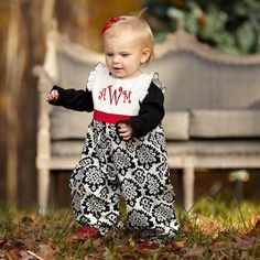 Baby Girl Cream Corduroy Black Damask Romper – Lolly Wolly Doodle