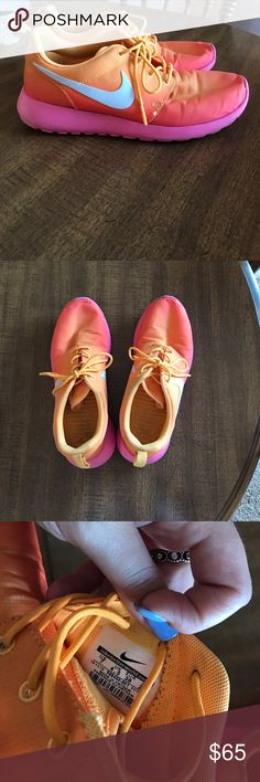 Colored Nike roshe Ombré effect Nike roshe. WILL CONSIDER OFFERS :-) Women's size 7! Nike Shoes Sneakers