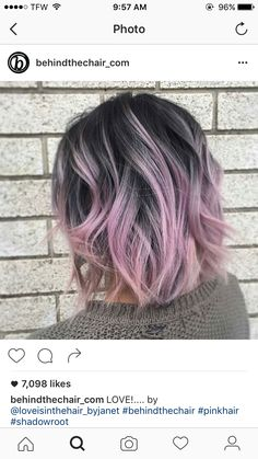 dark grey roots with purple tips