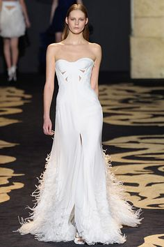 Versace white strapless long gown dress feathers