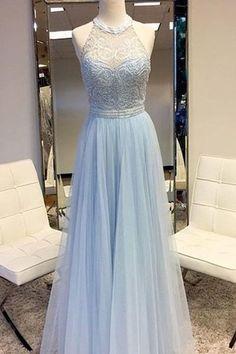 Light Blue Lace Prom Dress,Halter Bodice Prom Dress,Custom Made Evening Dress,17359