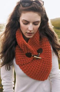 Love this reddish orange Toggle Neck Warmer.  It's perfect for adding a pop of color to a fall wardrobe.