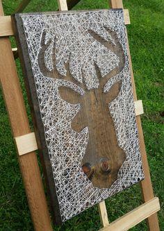 String Art Deer Silhouette im by NailedItDesign on Etsy - Basteln - fun craft Hirsch Silhouette, Deer Silhouette, Fun Crafts, Diy And Crafts, Arts And Crafts, Wooden Wall Art, Wood Art, String Art Diy, Reclaimed Wood Mirror