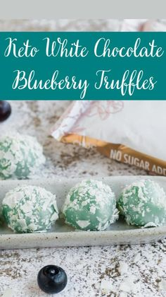 Quick Keto Dessert, Healthy Dessert Recipes, No Bake Desserts, Keto Recipes, White Chocolate Truffles, Blueberry Desserts, Blue Food Coloring, Baked Chips