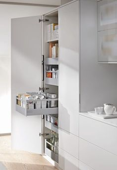 Blum space tower drawers are an ideal way to maximise your Storage. Space Tower provides superb choice of styles and quality, with full extension pull out larder drawers Built In Kitchen Bins, Kitchen Larder Units, Kitchen Cupboard Storage, Kitchen Organisation, Kitchen Storage Solutions, Kitchen Cupboards, Organization, Kitchen And Bath, Kitchen Accessories