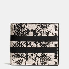 Our popular double billfold has a sharp new look, crafted in python-printed leather emblazoned with a pair of sporty stripes.