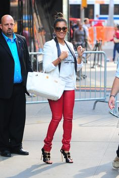 """LaLa Anthony wears Prabal Gurung x Casadei Buckle Sandals on """"Good Morning America"""" (1)"""