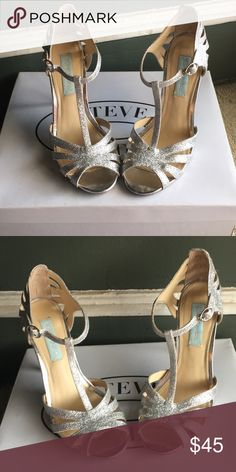 Betsey Johnson Blue Collection Silver sparkle shoes. Worn once for a wedding Betsey Johnson Shoes Heels