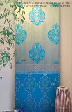 1 Stencil 10 Ways: Decorating Ideas using Royal Design Studio Annapakshi Indian Design Damask Wall Stencils