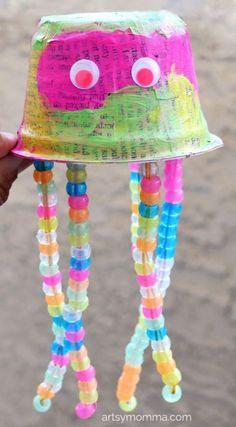 Recycled Yogurt Cup Jellyfish Craft that Glows-in-the-dark
