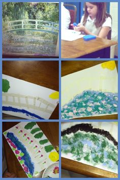 """Happy birthday Claude Monet!!! Creating impressionistic art with masking tape, cut-up sponges, paint and Monet's """"Water Lilies"""" for inspiration."""
