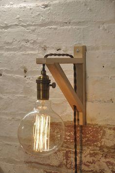 Mur bougeoir laiton Antique bouleau bois lampe par wiresNjars