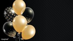 Bday Background, Gold Wallpaper Background, Balloon Background, Framed Wallpaper, Black And Gold Balloons, Metallic Balloons, White Balloons, Happy Birthday Frame, Birthday Frames