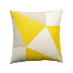 18 x 18 Cream/Oyster/Yellow Prism Pillow By Judy Ross Textiles ($195) found on Polyvore