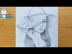 How to draw a girl wearing hat - step by step Pencil Sketches Of Girls, Pencil Sketches Landscape, Art Drawings Sketches Simple, Hipster Drawings, Pencil Sketch Drawing, Girl Drawing Sketches, Unique Drawings, Pencil Art Drawings, Couple Drawings