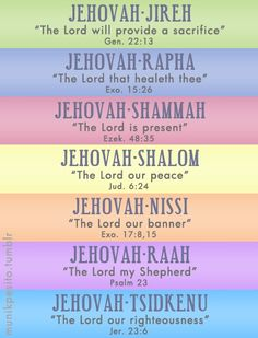Names of God. My mom would say these to me all the time when I was a child. She would teach me how to pray using these names...I hope to do the same with my children.