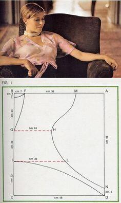 La costura ✂ los Patrones. La retro-blusa con el patrón muy simple // Taika