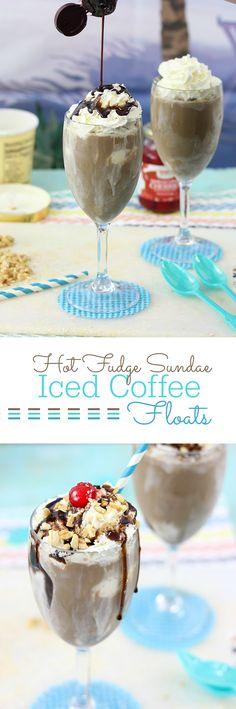 Hot Fudge Sundae Iced Coffee Floats using Ice Cream Desserts, Frozen Desserts, Ice Cream Recipes, Frozen Treats, Just Desserts, Delicious Desserts, Dessert Recipes, Yummy Food, Frozen Drinks