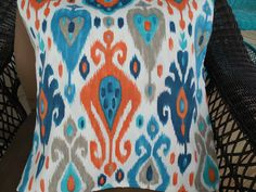 Modern Outdoor Pillow Cover Navy Blue Orange Ikat Patio Porch Decorative Throw Pillow Cushion Contemporary Outdoor Decor by wreathsplusbylyn on Etsy https://www.etsy.com/listing/504433284/modern-outdoor-pillow-cover-navy-blue