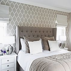 Charmant Traditional Grey Bedroom With Patterned Wallpaper And Headboard