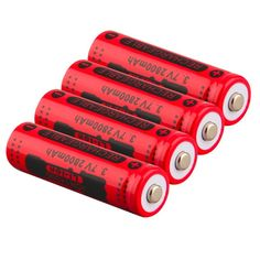 2017 Newest 4pcs 14500 3.7V 2800mAh Red Rechargeable Li-ion Battery for LED Torch Flashlight