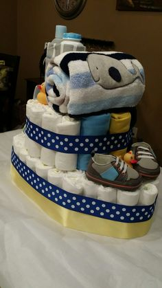 Tug boat diaper cake! I'm pretty proud of myself. Created by Jodi. More