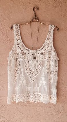 Anthropologie Vintage inspired Bohemian Lace tunic with sheer floral design