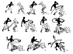 Mestre Bimba, the creator of the Regional style of Capoeira, created the first method to learn Capoeira, it consisted of a logical sequence of attack, defense and counter attack movements (also known as Mestre Bimba's 8 sequences), put into a simplified form for the initiates. This photo shows the first of the eight sequences:   - Player One (Plain Pants): Meia Lua de Frente, Meia Lua de Frente, Arm  ada, Aú   - Player Two (Striped Pants): Cocorinha, Cocorinha, Negativa, Cabeçada