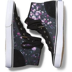 Keds DOUBLE UP HI FROST FLORAL ($40) ❤ liked on Polyvore featuring shoes, sneakers, black, black sneakers, floral high top sneakers, high top sneakers, black shoes and hi tops