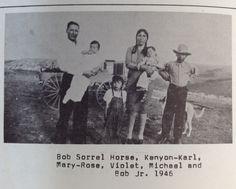 Bob Sorrell Horse, Kenyon-Karl, Mary-Rose, Violet, Michael, and Bob Jr. In 1946.  JKR