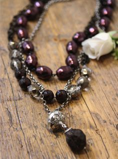 #cranberry #pearls multi strand #necklace from Kathy Gaiser Jewels www.facebook.com/kathygaiserjewels