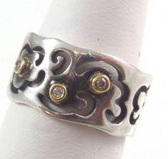 Vintage Pandora 14K & 925 Sterling Silver Diamond Band Ring Sz 6.5 (5.8g) 457396 #Pandora #Band