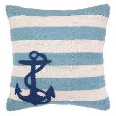 Peking Handicraft Nautical Hook Anchor Stripes Throw Pillow Color: Blue